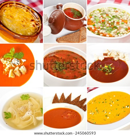 First courses collage including bouillabaisse, ukrainian borsch, chicken soup, gazpacho, canadian salmon cream soup and french onion soup - stock photo