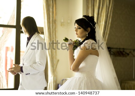 First crisis in marriage - stock photo