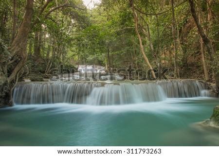 First floor of Huay Mae Kamin waterfall, Srinakharin National Park, Kanchanaburi, Thailand - stock photo