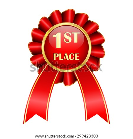 FIRST PLACE award badge with red ribbon and golden frame - isolated on white background - stock photo