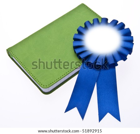 First Place Blue Ribbon on a Book for Education or Environmental Themed Imagery. - stock photo