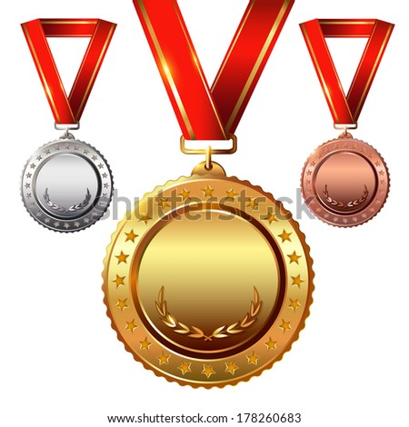 First place. Second place.Third place. Empty Award Medals Set isolated on white with red ribbons and stars. - stock photo