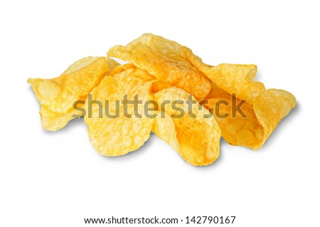 first plane of of heap of fried potatoes - stock photo