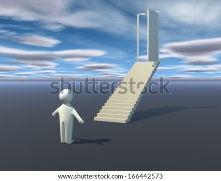 first step to success, abstract illustration with 3d person, stairs and blue cloudy sky - stock photo
