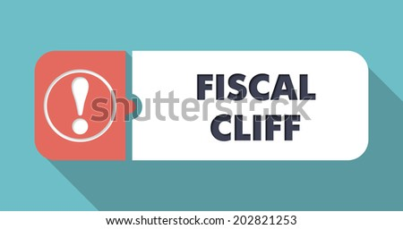 Fiscal Cliff Concept in Flat Design with Long Shadows. - stock photo
