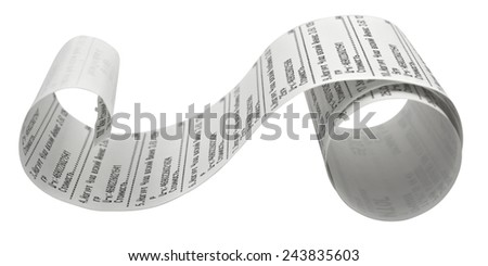Fiscal receipt isolated on white background. Clipping path included. - stock photo
