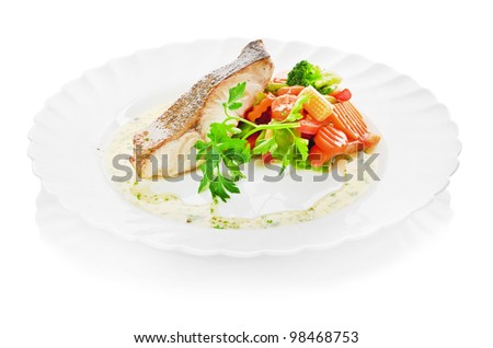 fish and begetables - stock photo