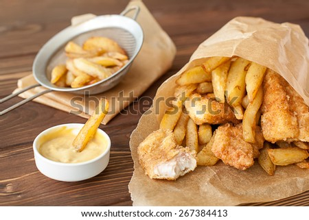 Fish and chips fast food - stock photo