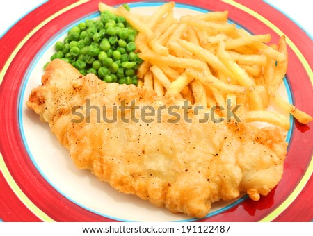 Fish and Chips isolated on the red plate - stock photo