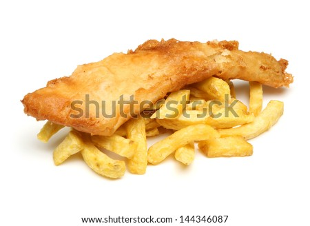 Fish and chips isolated on white. - stock photo