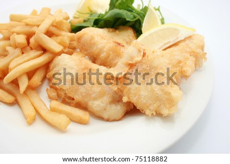 Fish and Chips isolated on white - stock photo