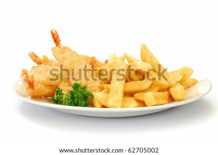 Fish and chips on a plate - stock photo