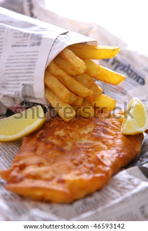 Fish and chips takeout - stock photo