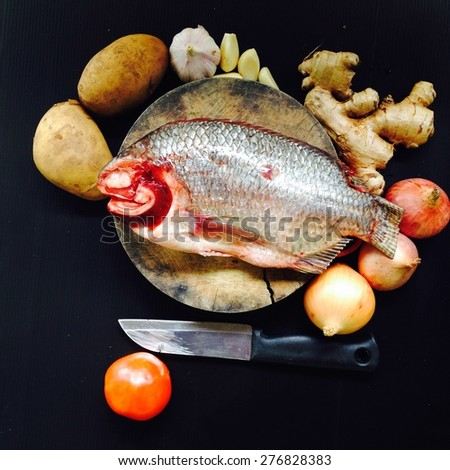 Fish and garnish preparation for cooking  - stock photo