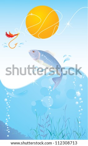 fish and hook. Raster version - stock photo