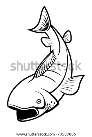 Fish as a fishing symbol isolated on white - also as emblem. Vector version also available in gallery - stock photo