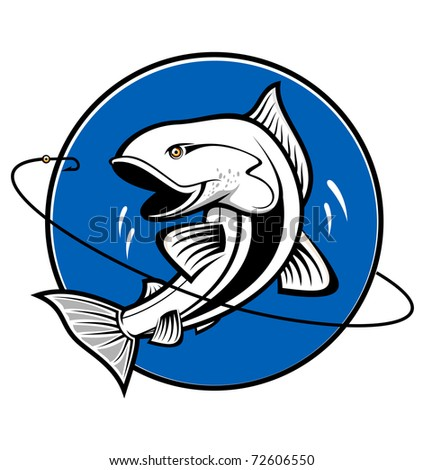 Fish as a fishing symbol isolated on white. Vector version also available in gallery - stock photo