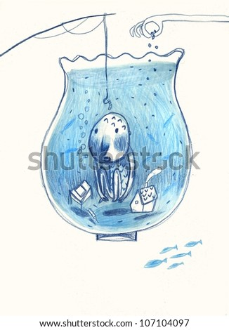 fish bowl - stock photo