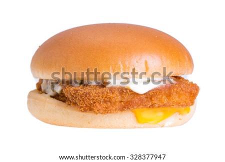 fish burger isolated on white background - stock photo