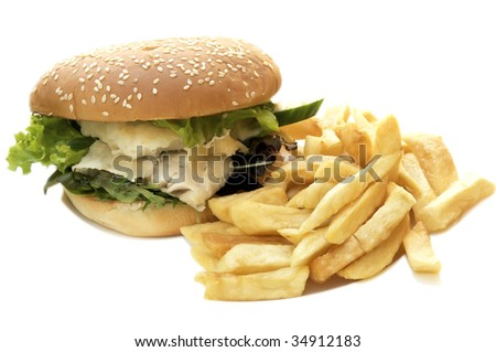 Fish burger with chips - stock photo