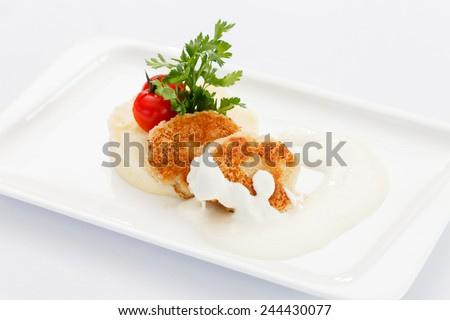 fish cutlets with mashed potatoes - stock photo