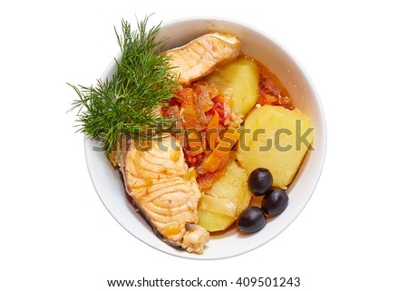 Fish dish in a plate on a white background - stock photo