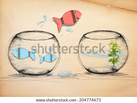 Fish Escaping to New Fishbowl - stock photo