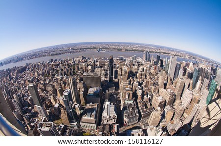 fish eye new york - stock photo