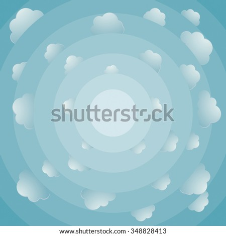 Fish eye view about cloudy bright sky - stock photo