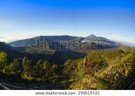 Fish eye view of  Bromo Tengger Semeru National Park, East Java, Indonesia - stock photo