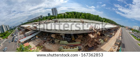 Fish-eye view of the elevated road construction - stock photo