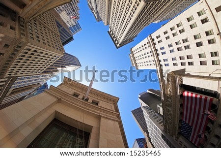 Fish-eye view of Wall Street buildings - New York City, USA - stock photo