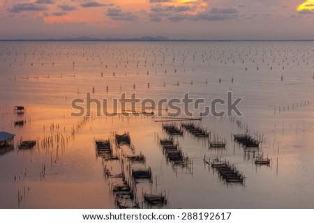 Fish Farm in Songkhla Lake at Sunset, Songkhla, Thailand - stock photo