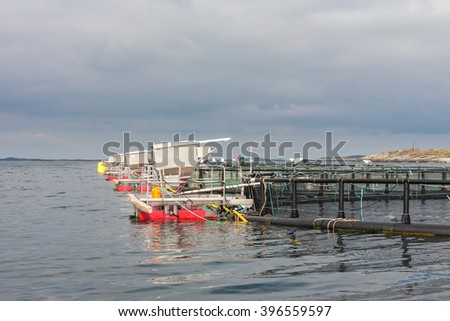 Fish farming in cages at sea - stock photo