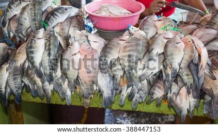 Fish for sale in the Calle El Comercio, Granada, Nicaragua, 3 Mar 2016 - stock photo