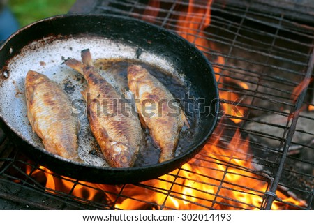 fish frying in oil on the fire - stock photo