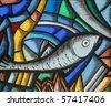 Fish - Icthus, ancient Christian symbol - stock photo