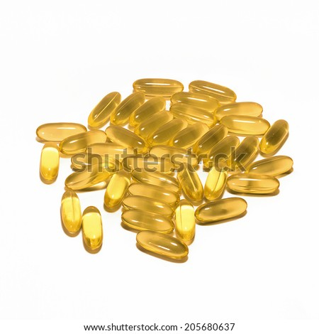 Fish oil contain Omega 3, Good for heart and brain. - stock photo