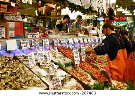 fish on pike place market in seattle - stock photo