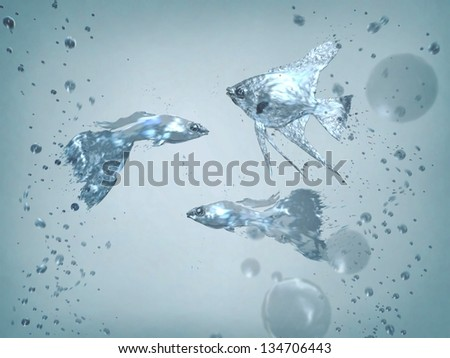 fish on the move, the fish out of the water - stock photo