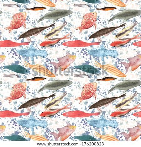 Fish pattern seamless watercolor illustration - stock photo