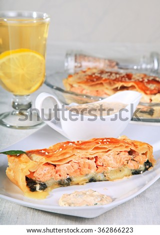 Fish pie with spinach and cheese. - stock photo