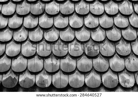 Fish Scale Wooden Roof at Skansen - Stockholm, Sweden - stock photo