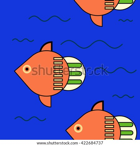 fish seamless wallpaper background tile  - stock photo
