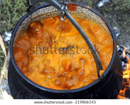 fish soup cooked on fire - stock photo