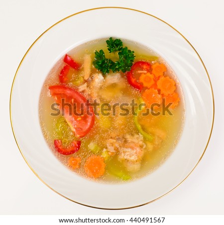 Fish Soup with Trout and Vegetables Studio Photo - stock photo