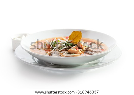 Fish Soup with Vegetables and Greens - stock photo