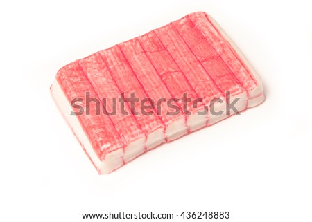 Fish sticks or crab sticks, Imitation crab sticks made from white fish usually Pollock and starch. - stock photo