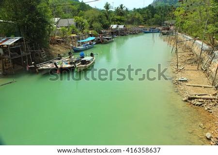 Fisher man's village at Koh Tao Noi, Phang nag, South of Thailand. - stock photo
