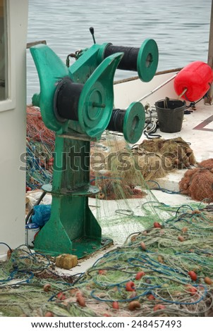 Fisher nets in a boat - stock photo